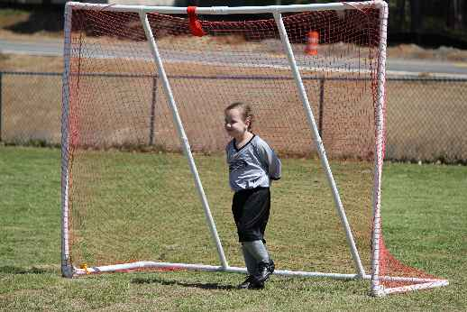 Autumn playing goalie